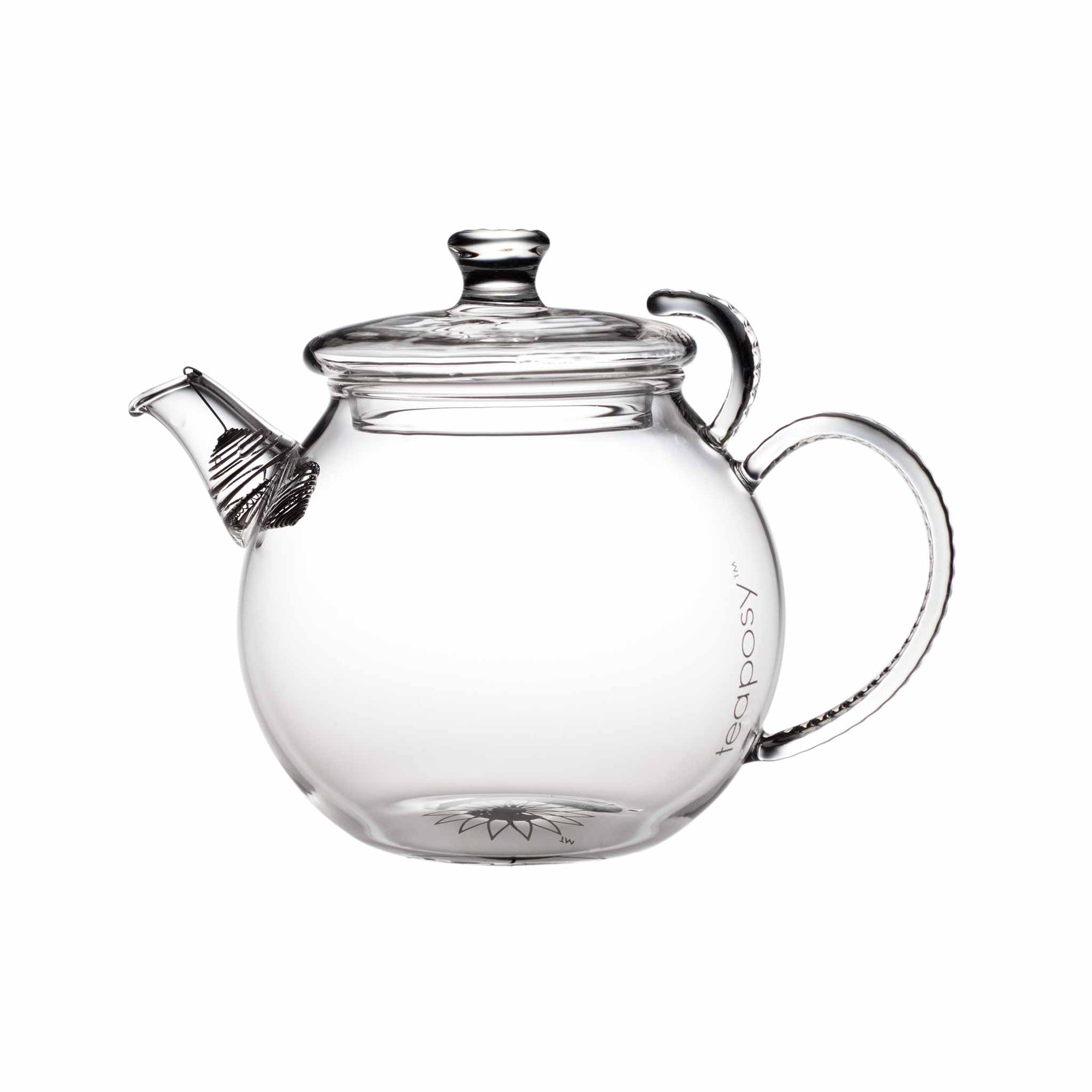 Teaposy daydream glass teapot, round shaped with crystal like handle, and a stainless steel filter at the spout