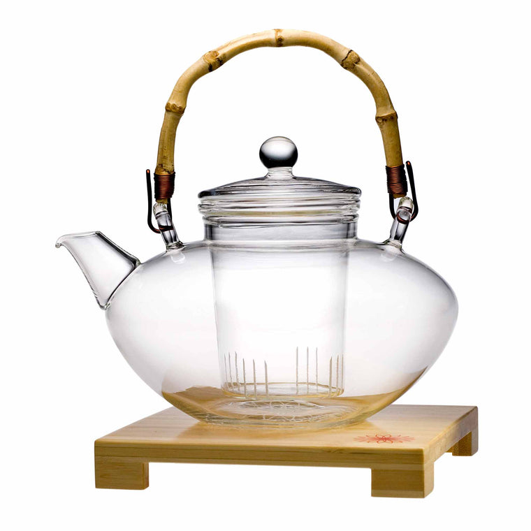 teaposy tea for more glass teapot with bamboo stand, bamboo handle and removable glass loose tea infuser