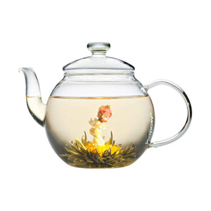 Teaposy acapella tea blossoming in the harvest glass teapot
