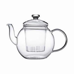 Teaposy harvest glass teapot with removable glass loose tea infuser, round shaped, 48 oz