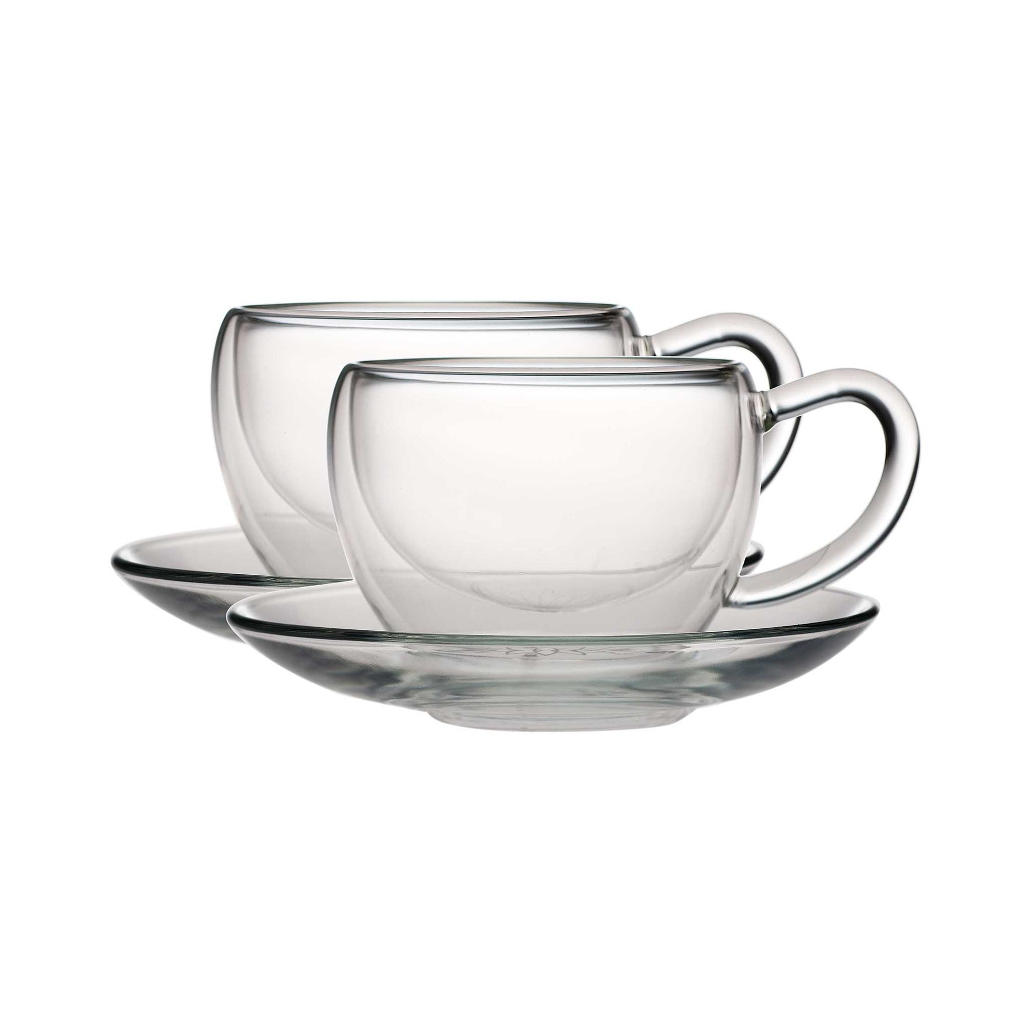 Teaposy socrates double-walled glass tea cup+saucer set