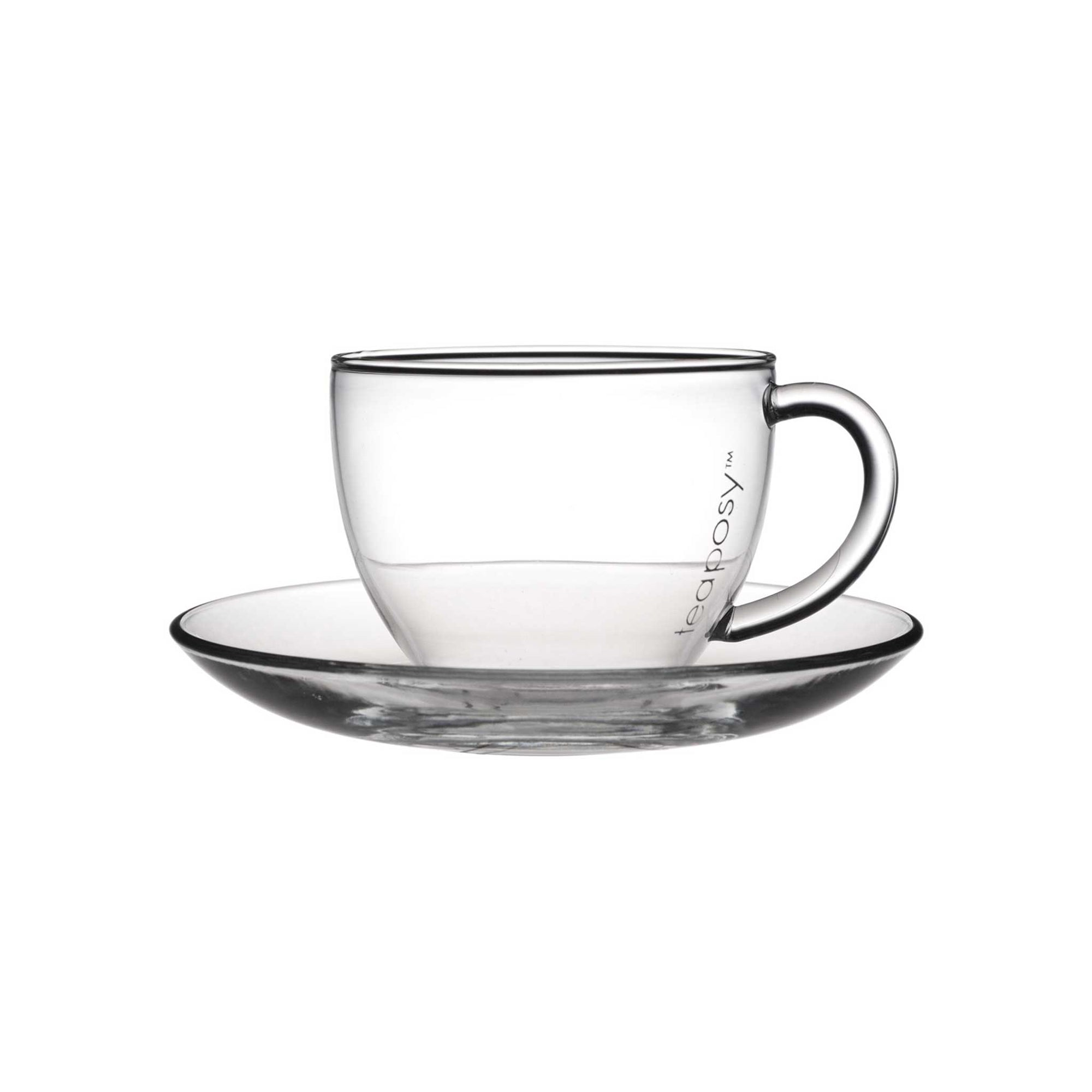 Teaposy tea for more glass tea cup and saucer set, 6 oz