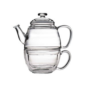 Teaposy charme glass teapot and cup set, stacked together as one unit