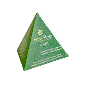 Teaposy green tea posy tea bath with peppermint and jasmine flower packed in a pretty triangle green box