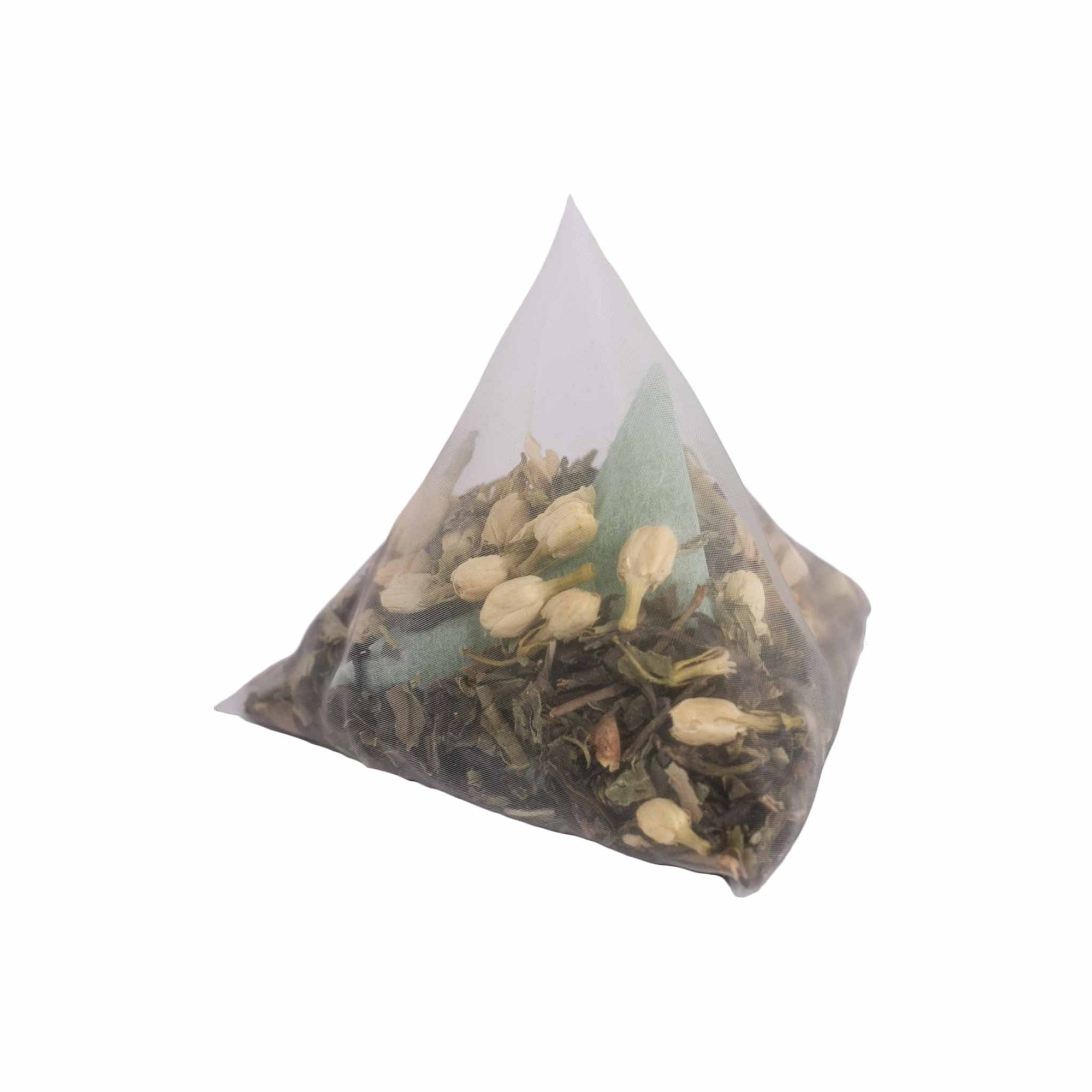 Green tea posy flower tea bath with green tea, peppermint and jasmine in a giant tea bag