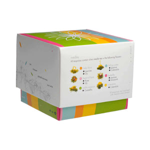 Teaposy medley blooming tea, variety of 6 silver needle white flowering teas packed in a colorful box
