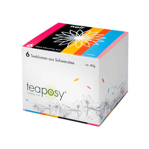 Teaposy medley noir with 6 unique blooming teas made with silver needle black teas, packed in a colorful box