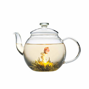 Crown me tea blossoms in the Teaposy harvest clear glass teapot
