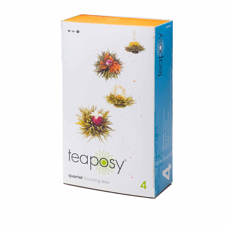 teaposy quartet with 4 different kinds of flowering teas made with silver needle white tea