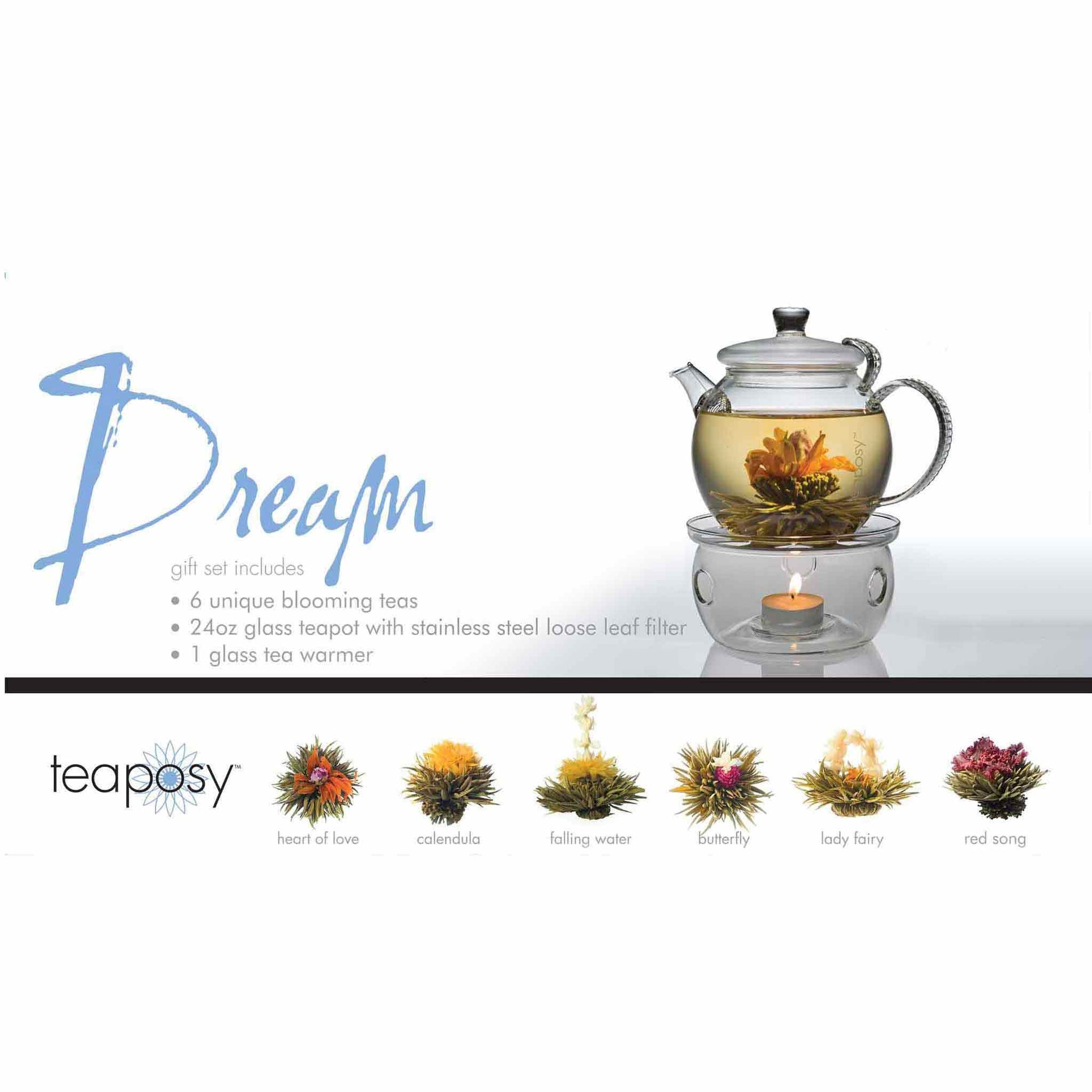 Teaposy dream posy gift set with 6 unique blooming teas, a 24 oz daydream glass teapot and the light my fire tea warmer