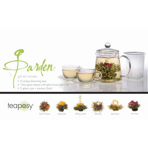 Teaposy garden posy gift set with 6 unique blooming teas, a tea-for-two glass teapot and 2 soulmates glass tea cup sets
