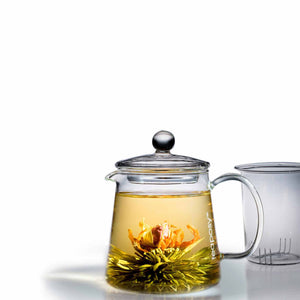 Teaposy heart of love blooming tea in the tea-for-two glass teapot with a glass tea filter