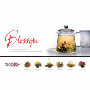 Teaposy blossom gift set showing six unique blooming teas with the tea-for-two glass teapot
