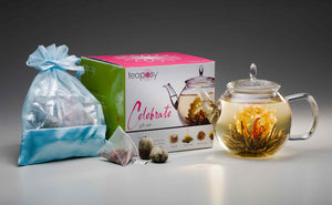 Teaposy lady fairy blooming tea showing in the celebrate glass teapot, along with a pretty gift box