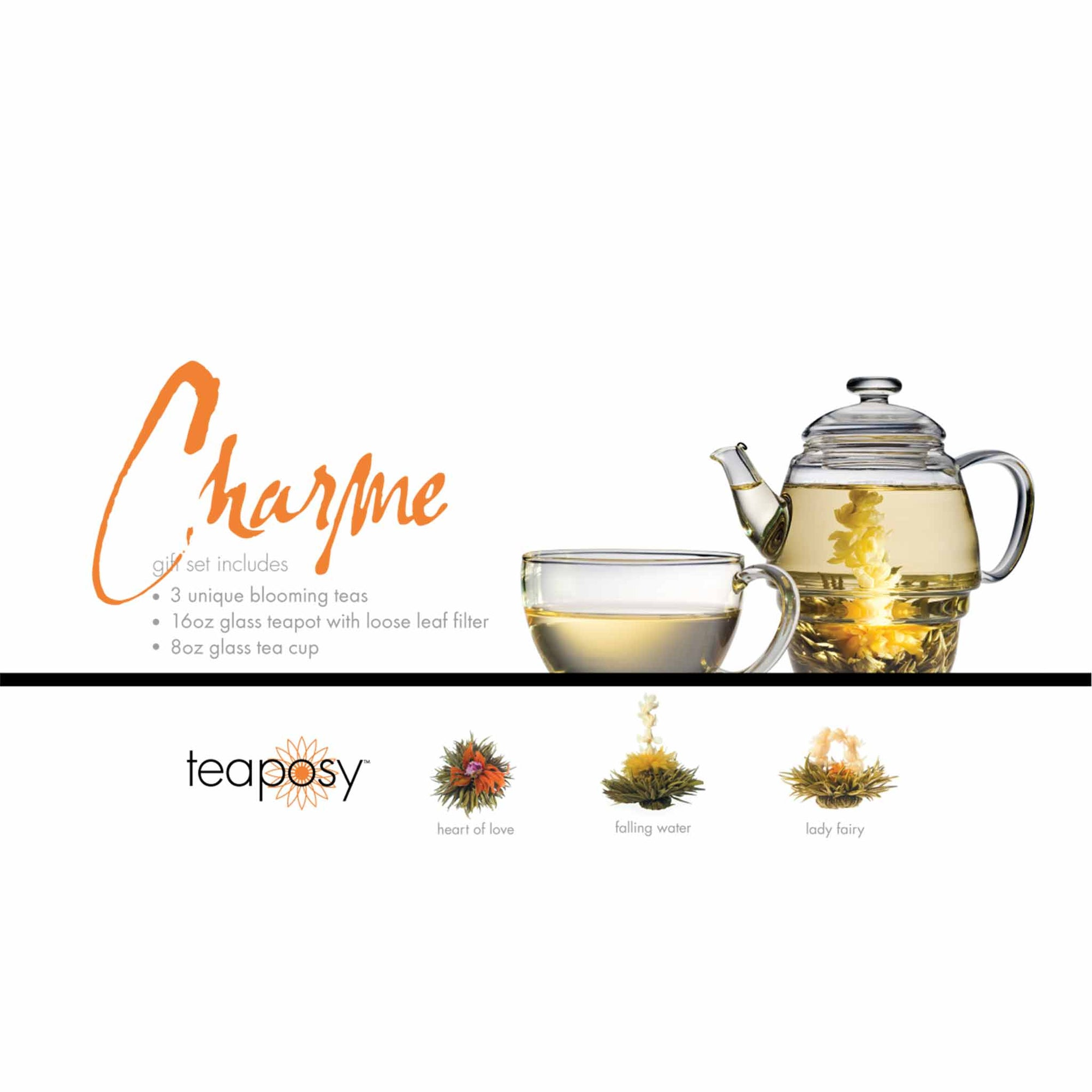 Teaposy charme posy gift set with 3 unique blooming teas, a 16oz glass teapot and an 8oz glass tea cup