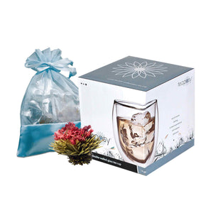 Teaposy rondo posy gift set showing 6 unique blooming teas in a blue oganza bag, and a double-walled glass mug in a box