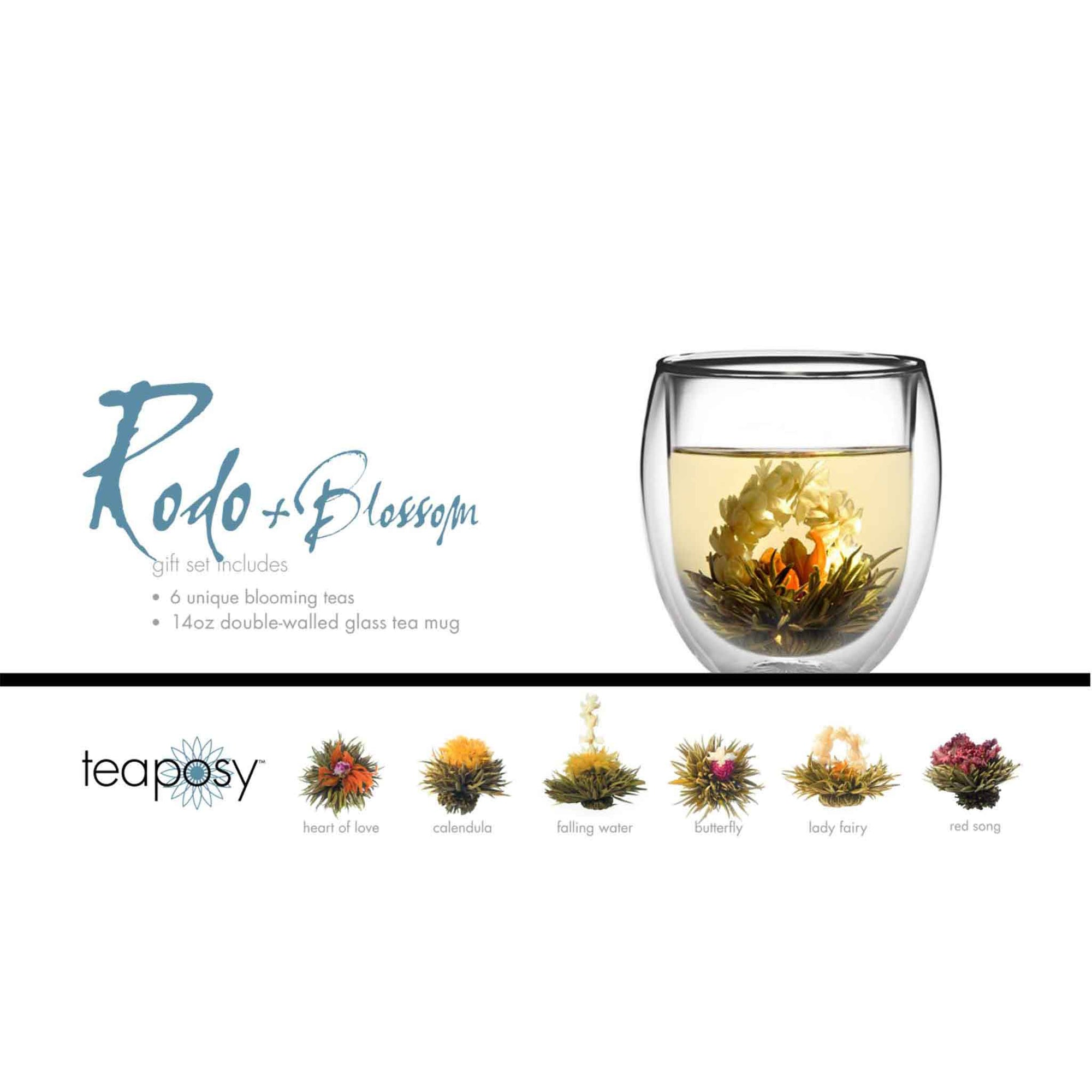 Teaposy rondo posy gift set, showing 6 unique blooming teas, and a double-walled rondo glass tea mug