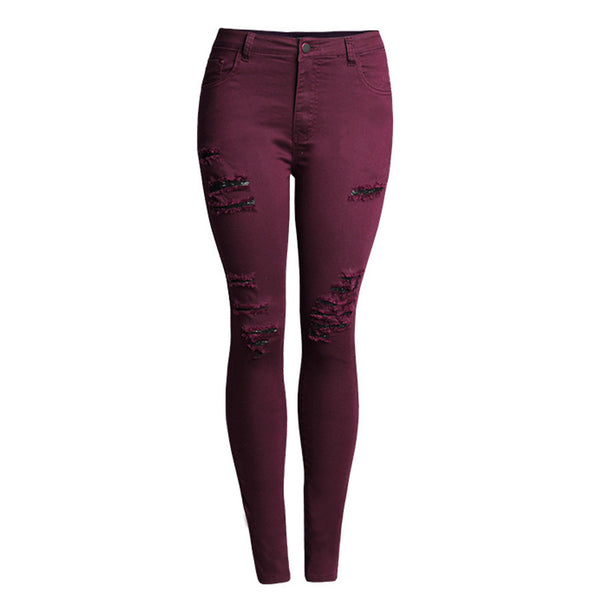 Ripped Women High Waist Slim Pencil Jeans