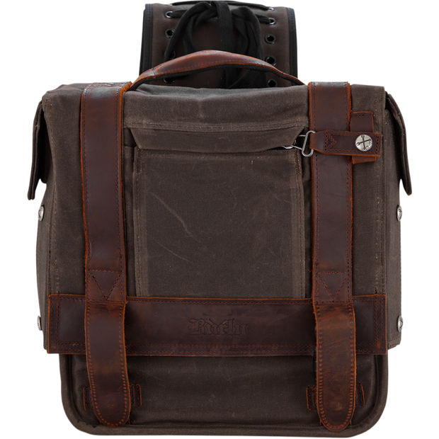 Burly Brand Throwover Saddlebags - Dark Oak Waxed Cotton