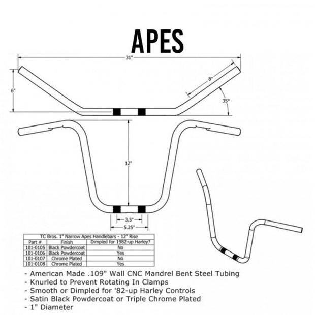 "TC Bros. 1"" Narrow Apes Handlebars - 16"""