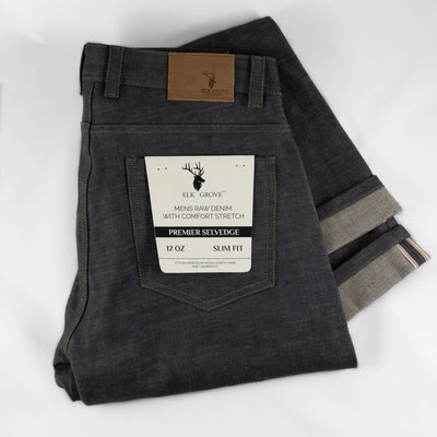 Elk Grove Raw Selvedge Denim Jeans - Grey