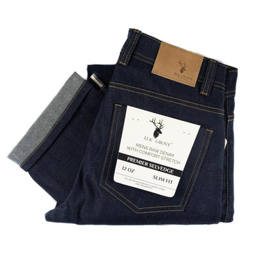 Elk Grove Raw Selvedge Denim Jeans - Indigo Blue
