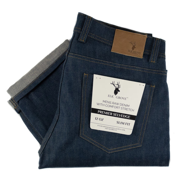 Elk Grove Raw Selvedge Denim Jeans - Medium Blue