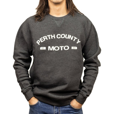 Perth County Moto College Crewneck - Grey