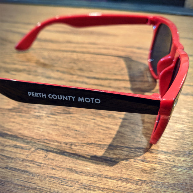 Perth County Moto Sunglasses - Black/Red