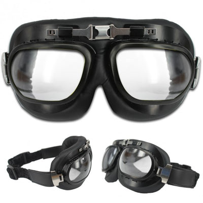 Vintage Style Motorcycle Goggles - Black