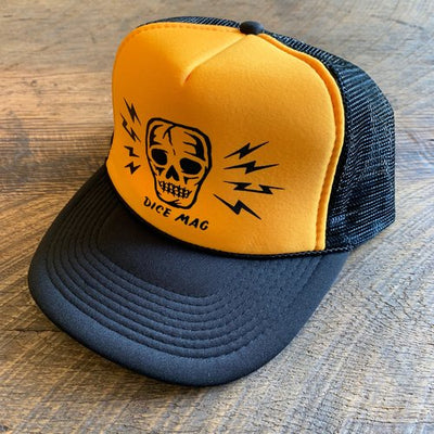 DICE Skull and Bolts Trucker Hat - Yellow