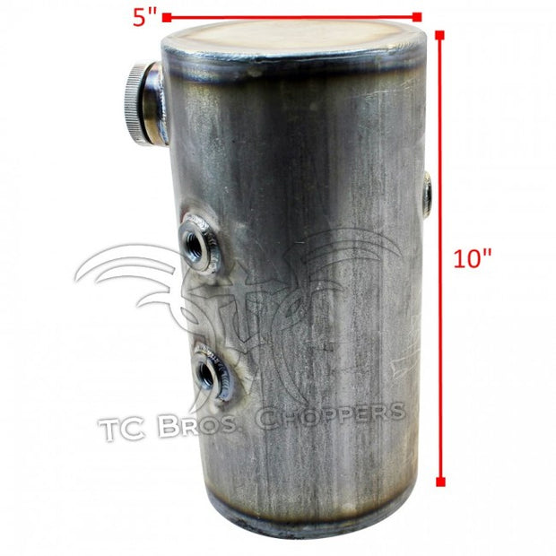 TC Bros 5 inch Round Chopper Oil Tank Flat Ends Universal Fit