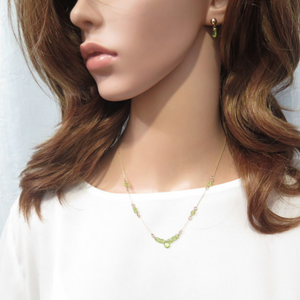 Tiny Delicate Peridot Necklace, Green Drop Gem, Birthstone Gift For