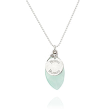 Aqua Chalcedony Dainty Necklace, Bridesmaid Gift, Engraved Silver Disc