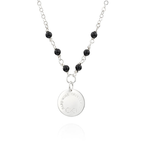 Onyx and Silver, Customized Gemstone Necklace, Meaningful Jewelry - Viyoli Jewelry Designs