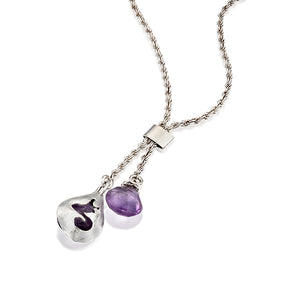 Teardrop necklace, 925 Silver Sterling and Amethyst, Charm Pendant - Viyoli Jewelry Designs