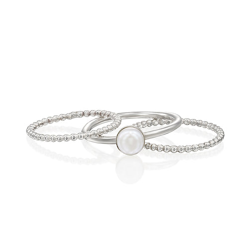 Dainty Silver Stacking Set, Pearl Ring, 3 Thin Beaded Hammered Bands