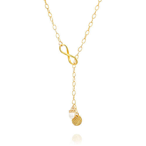 Lariat Infinity Necklace, Everyday Circle and Pearl, Long Gold Gift