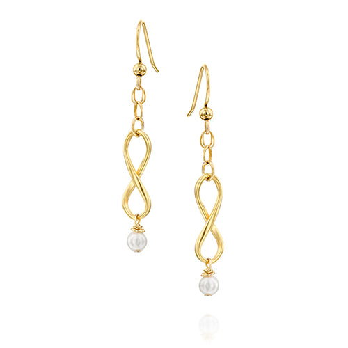 Infinity Dangle Gold Filled Earrings with Tiny Pearls, Minimalist Set