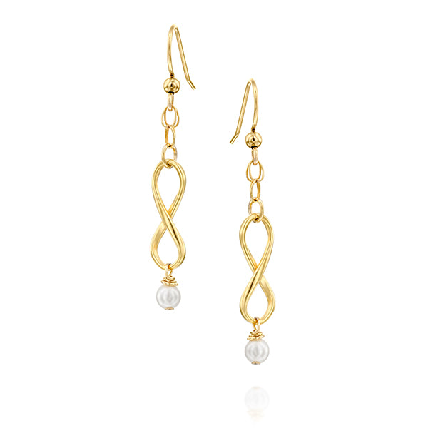 Infinity Dangle Gold Filled Earrings with Tiny Pearls, Minimalist Set - Viyoli Jewelry Designs