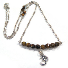 Protection Necklace with Tiger Eye, Charm Gift in Silver, Yoga Lovers