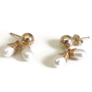 Stud and Dangle with Pearls, Delicate Earrings, Bridesmaid Gift Jewelry
