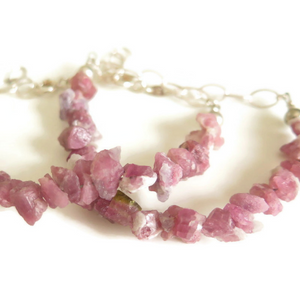 Pink Raw Tourmaline Bracelet, Friendship Gift, Chunky and Silver