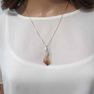 Raw Citrine Pendant, Crystal Stone in Sterling Silver Necklace
