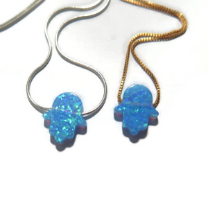 Dainty Opal Hamsa Pendant, Blue Charm Necklace, Protection Jewelry