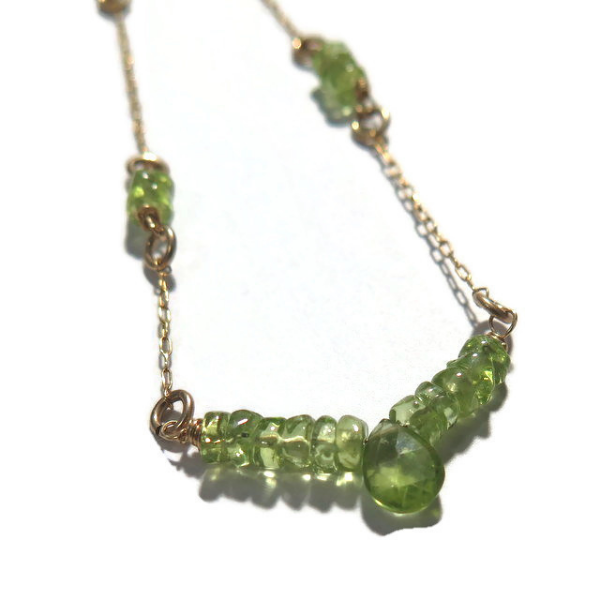 Delicate Peridot Necklace, Green Drop Gem, August Birthstone Gift