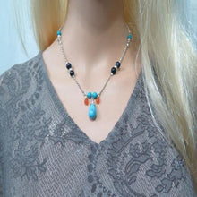 Turquoise Pendant Necklace, Turquoise Drop Necklace, Silver Necklace - Viyoli Jewelry Designs