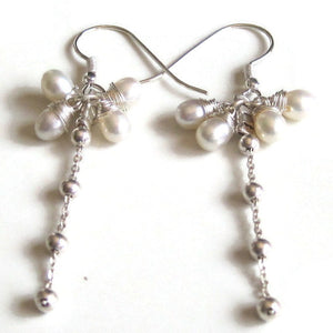White Pearl Cluster Earring in Sterling Silver, Long Bridesmaid Gift