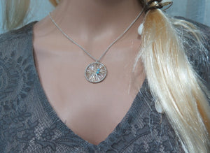 Silver Sterling Necklace, Dream Catcher Pendant with Opals Beads - Viyoli Jewelry Designs