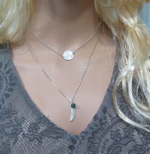 Layering Necklace Set, Feather and Engraved Disc Silver, Memorial Gift - Viyoli Jewelry Designs